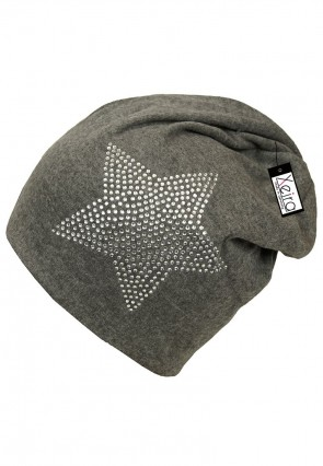 Beanie in Trendigen Star Design-Grau