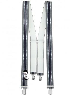 Hochwertige Hosenträger in Trendigen Grau / Dunkel Blau Gestreift Design mit 4 Clips