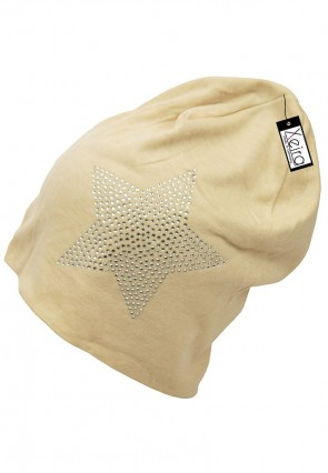 Beanie in Trendigen Star Design-Beige