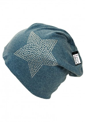 Beanie in Trendigen Star Design-Blau