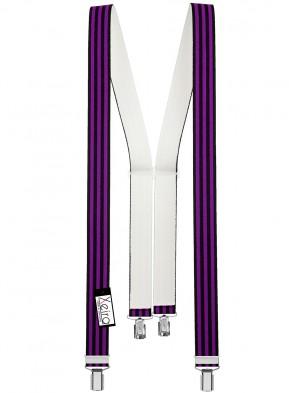 Hochwertige Hosenträger in Trendigen Schwarz / Lila Gestreift Design mit 4 Clips