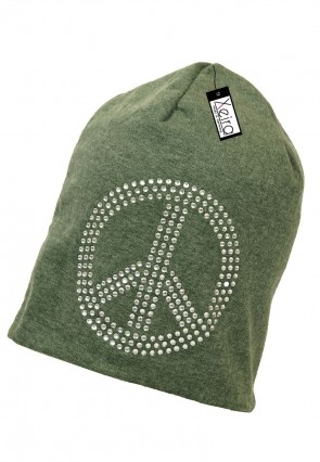 Beanie in trendigen Peace Design-Grün