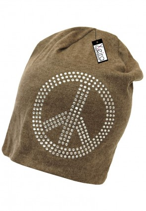 Beanie in trendigen Peace Design-Braun