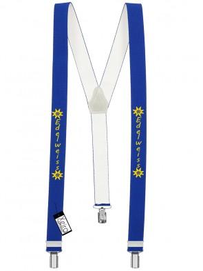 Hosenträger Edelweiss Design mit 3 Clips von Xeira®- Königsblau