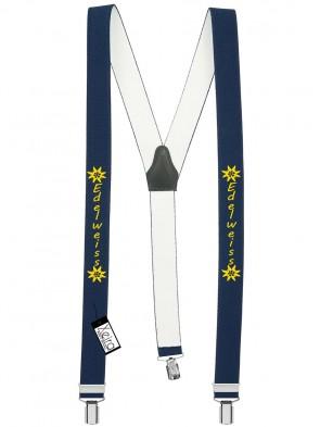 Hosenträger Edelweiss Design mit 3 Clips von Xeira®-Dunkel Blau