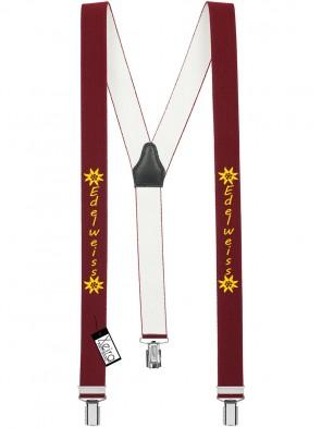 Hosenträger Edelweiss Design mit 3 Clips von Xeira®-Bordeaux