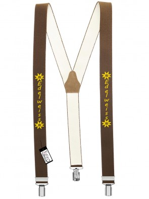 Hosenträger Edelweiss Design mit 3 Clips von Xeira®-Braun