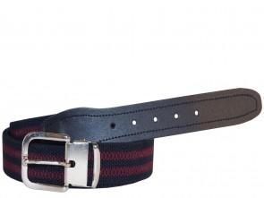 Hochwertiger Elastik- Stoffgürtel Gestreift in Schwarz/Rot mit Leder Endstück