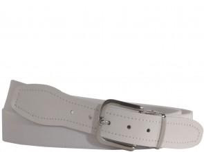 Hochwertiger Elastik- Stoffgürtel mit Leder Endstück in Uni Weiß -  Bundweite bis 160