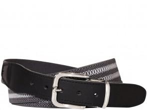 Hochwertiger Elastik- Stoffgürtel Grau / Grau Gestreift mit Schwarzen Leder Endstück - Bundweite bis 160 verfügbar