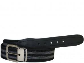 Hochwertiger Elastik- Stoffgürtel Schwarz / Grau mit Schwarzen Leder Endstück - Bundweite bis 160