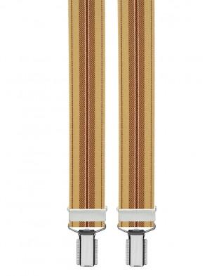 Hochwertige Hosenträger in Beige / Braun Gestreiften Design mit 4 Clips