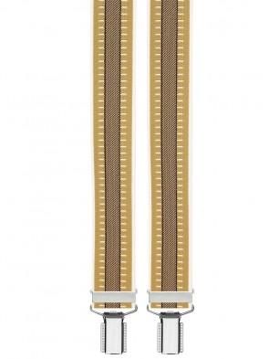 Hosenträger in Beige Schwarz Gestreift Design mit 4 Clips