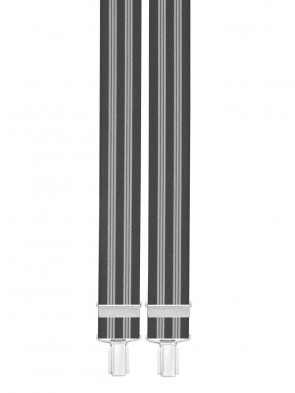 Hosenträger Grau / Weiß Gestreift Design