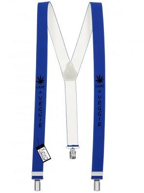 Hosenträger I am a Veggie Design mit 3 Clips von Xeira®- Königsblau