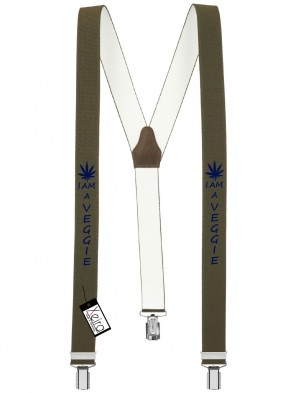 Hosenträger I am a Veggie Design mit 3 Clips von Xeira®-Khaki