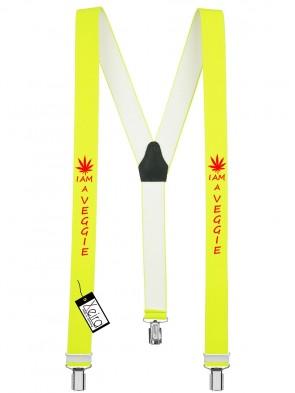 Hosenträger I am a Veggie Design mit 3 Clips von Xeira®-Neon Gelb
