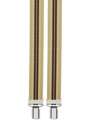Hosenträger in Gestreiften Vintage Design mit 4 Clips-Beige / Braun