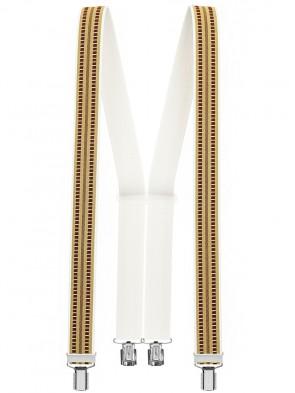 Hosenträger in Braun / Weißen Design mit 4 Clips