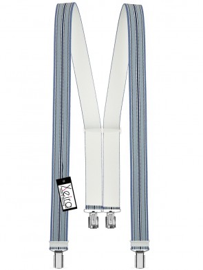 Hosenträger von Xeira® in Trendigen Blau / Schwarz / Weiß mit 4 Clips