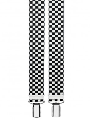 Hosenträger in Schwarz Weiß Kariert mit 4 Clips