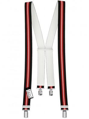 Hosenträger von Xeira® in Trendigen Schwarz-Blau / Rot-Weiß mit 4 Clips