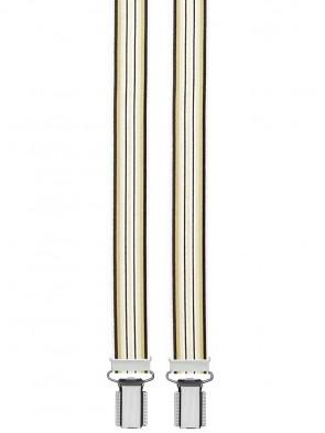 Hosenträger Braun/ Beige Gestreift Design - 25mm Breit