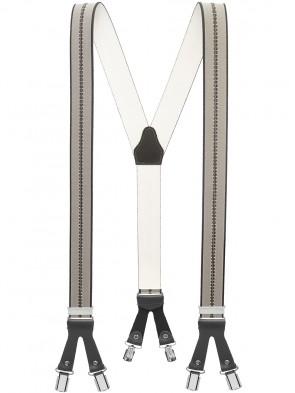 Hochwertige Hosenträger in Trendigen Braun / Bordeaux / Oliv Gestreift  Design mit Braunen Lederriemen und 6 Clips