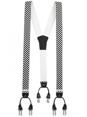 Hosenträger von Xeira® in Trendigen Schwarz / Weiß Kariert mit Vintage Lederriemen und 6 Clips