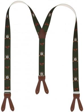 Hochwertige Hosenträger in Trendigen  Jäger Design mit Lederriemen