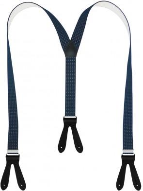 Hochwertige Hosenträger in Trendigen Beige / Blau / Schwarz Punkte Design mit Lederriemen