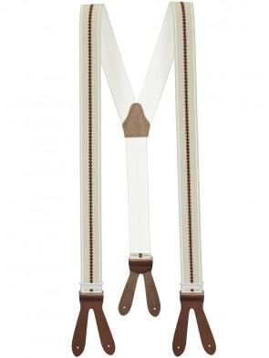 Hochwertige Hosenträger in Trendigen Hell Grau / Braun / Bordeaux Gestreift  Design mit Braunen Lederriemen