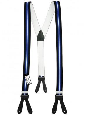 Hosenträger von Xeira® in Schwarz - Blau & Rot - Weiß Gestreiften Design mit Lederriemen
