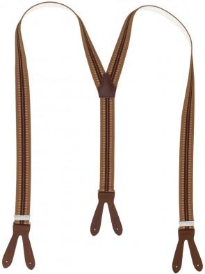 Hochwertige Hosenträger Braun Gestreift mit Braunen Lederriemen