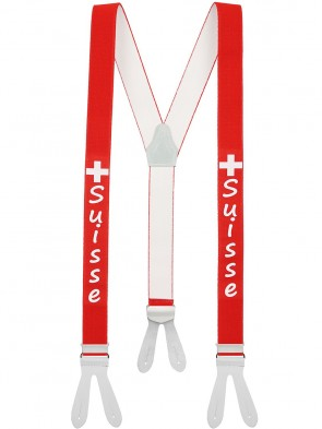 Hosenträger SUISSE Design mit weißen Lederriemen