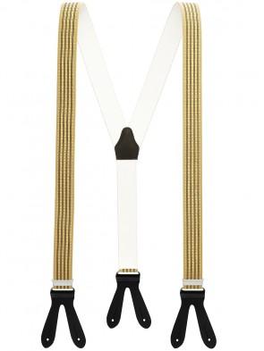 Hochwertige Hosenträger in Trendigen Beige - Weiße Punkte - Schwarze Streifen mit Schwarzen Lederriemen