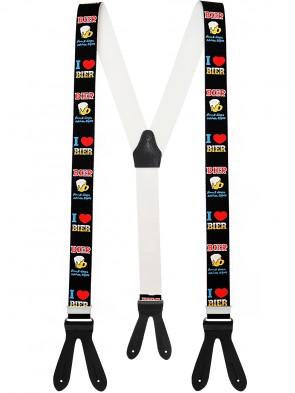 Hochwertige Hosenträger in Trendigen I Love Bier Design mit  Lederriemen