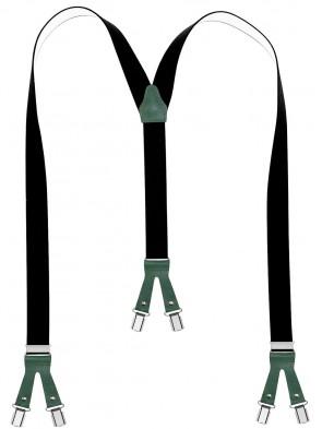 Hochwertige Hosenträger in Uni Schwarz mit verschieden Farbigen Lederriemen und 6 Clips
