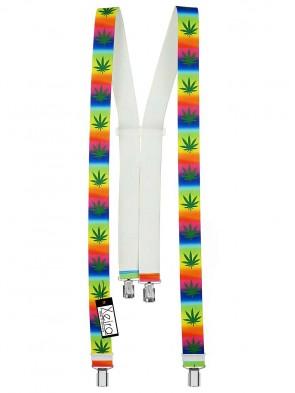 Hochwertige Hosenträger in Cannabis Multicolour Design mit 4 Clips