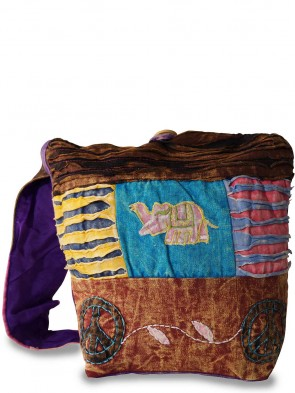 Trendige Ethno Hippie Yogi Stofftasche - Elefant / Peace Vintage Design