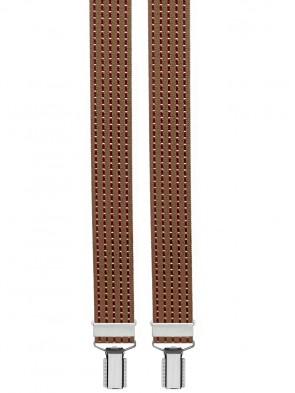 Hosenträger Y Design 4 Clips mit Lederriemen - Braun Bordeaux