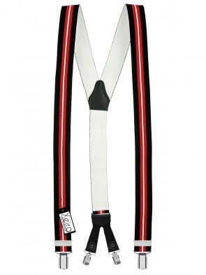 Hosenträger von Xeira® Y Design 4 Clips in Schwarz - Rot & Blau - Weiß mit Lederriemen