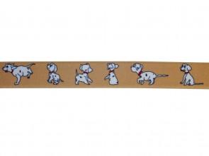 Hochwertiger Kinder Elastik- Stoffgürtel Beige Dogs ´n´ Fun Design mit Leder Endstück