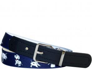 Hochwertiger Kinder Elastik- Stoffgürtel Dunkel Blau Dogs ´n´ Fun Design mit Leder Endstück