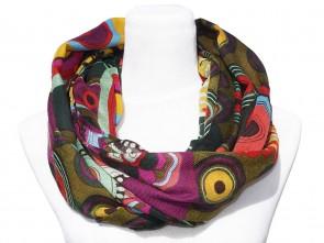 Loop Schal mit buntem Blumen / Paisley Motiv - Grün / Multicolor
