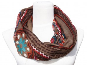 Loop Schal mit buntem Blumen / Paisley Motiv - Braun / Multicolor
