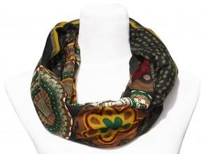 Loop Schal mit buntem Blumen / Paisley Motiv  - Dunkel Grün / Multicolor
