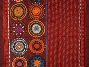 Loop Schal mit buntem Blumen / Paisley Motiv  - Rot / Multicolor