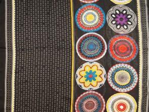 Loop Schal mit buntem Blumen / Paisley Motiv  - Schwarz / Multicolor