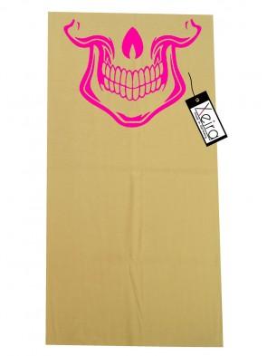 Multifunktionstuch mit Totenkopf Design - Beige / Neon Pink